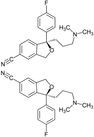 Enantiomer - Enantiomers of citalopram.  The top is (R)-citalopram and the bottom is (''S'')-citalopram.