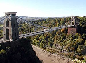 Avon Gorge - The bridge and river at low tide, from the Observatory.