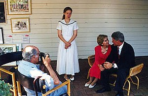 Alfred Eisenstaedt - Eisenstaedt photographing the Clinton family on Martha's Vineyard.