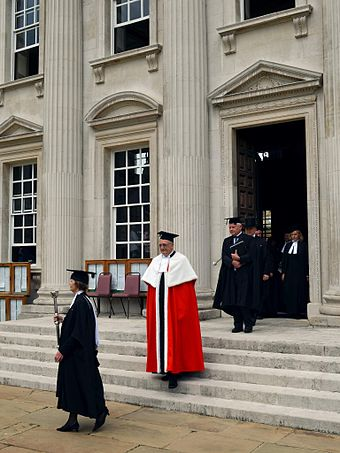 Officers of the Regent House, including Vice- Chancellor Borysiewicz, after a graduation ceremony Cmglee Cambridge graduation officers.jpg