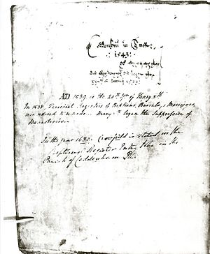 Crowfield, Suffolk - The cover of the 1543 Coddenham parish register