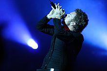 Chris Martin durante il concerto a San Paolo (Brasile)