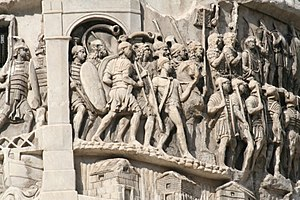 Military of ancient Rome - Relief scene of Roman legionaries marching, from the Column of Marcus Aurelius, Rome, Italy, 2nd century AD.