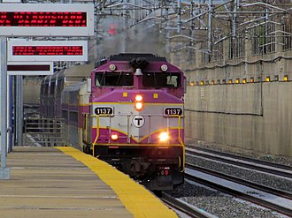 Forest Hills station (MBTA) - An outbound Providence/Stoughton Line train passes Forest Hills on Track 3 in 2012