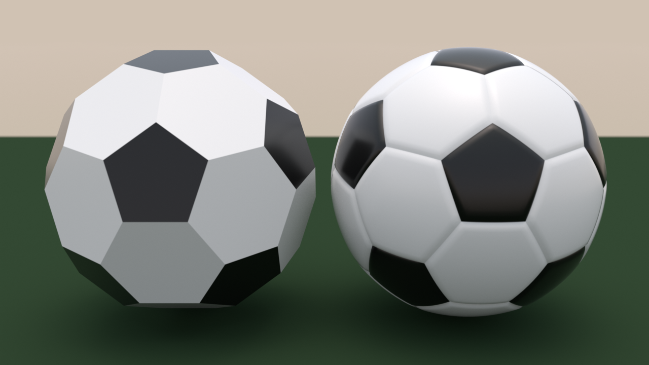 Comparison of truncated icosahedron and soccer ball.png