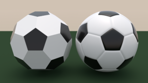 Spherical polyhedron - The most familiar spherical polyhedron is the soccer ball, thought of as a spherical truncated icosahedron.