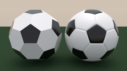 The Truncated Icosahedron Left Compared To An Association Football