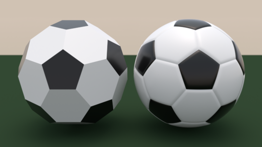 Comparison of truncated icosahedron and soccer ball
