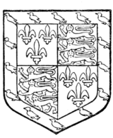 Fig. 728.—Jasper Tudor, Duke of Bedford: France and England quarterly, a bordure azure, charged with martlets or. (From his seal.) Although uncle of Henry VII., Jasper Tudor had no blood descent whatever which would entitle him to bear these arms. His use of them is very remarkable.