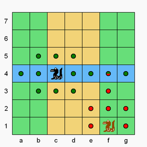 Congo (chess variant) - Brown's crocodile can move or capture to any dot with red. Black's crocodile can move or capture to any dot with dark green.