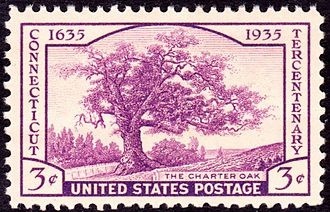 Connecticut Tercentenary half dollar - The three-cent stamp issued for the Connecticut Tercentenary, displaying the Charter Oak