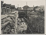 Construction of railway tunnel approach to Sydney Harbour Bridge, 1927 (8283776656).jpg