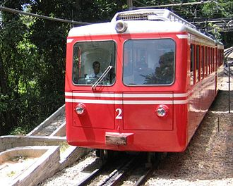 Three-phase AC railway electrification - 3-phase pantograph on a Corcovado Rack Railway train in Brazil