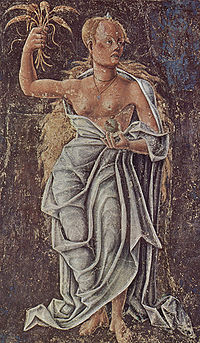 Ceres (Demeter), allegory of August: detail of a fresco by Cosimo Tura, Palazzo Schifanoia, Ferrara, 1469-70.