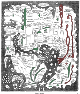"""Mapa mundo anglo-saxónico. Ceilão (""""Taprobanea"""") surge no topo, Grã-Bretanha em baixo, à esquerda)"""