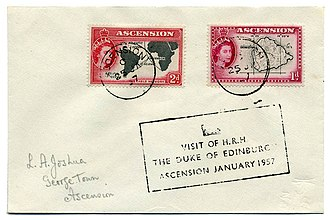Postage stamps and postal history of Ascension Island - A cover mailed during the visit by the Duke of Edinburgh in 1957.