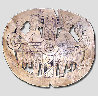 Shell gorget - Engraved and fenestrated shell gorget from Spiro Mounds, ancestral Caddo or Wichita