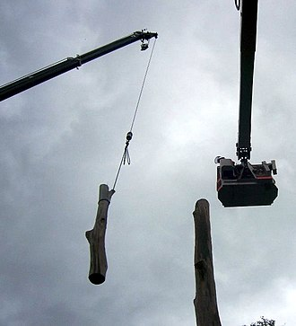 Arborist - An arborist disassembling a tree using a crane and bucket