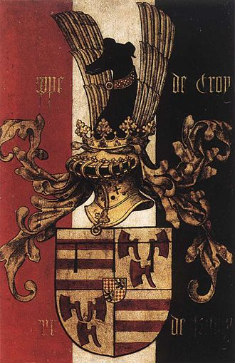 House of Croÿ - Arms of Philippe I de Croÿ, detail of Rogier's diptych (ca. 1460)