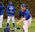 Cubs lefty Jon Lester throws a bullpen session at Wrigley Field. (30533137551).jpg