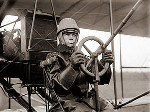 College Park Airport - A pilot flying a Curtiss aircraft at College Park in 1912