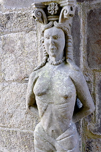 Just near the ossuary is this caryatid said to be based on a design by Sébastien Serlio.[5]