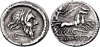Junia (gens) - Denarius of Decimus Junius Silanus, 91 BC.  The obverse depicts a mask of Silenus within a torque, alluding to both the surname Silanus and their descent from the Manlii Torquati, and a plough, perhaps alluding to the dictator Gaius Junius Bubulcus Brutus.  On the reverse Victoria drives a biga over a carnyx.