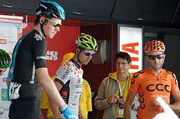 Davide Rebellin, primo da destra, al Tour de Suisse 2014