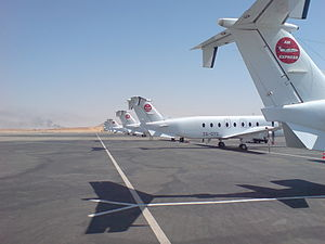 Solenta Aviation - Beech 1900's on the flight line in Hassi Messaoud, operated for Air Express Algeria