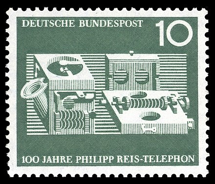 """First telephone by Philipp Reis from 1861"": a German postal stamp commemorating the centenary of Reis' achievement, issued October 1961 DBP 1961 373 100 Jahre Telefon von Philipp Reis.jpg"