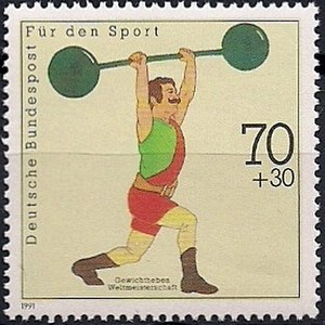 1991 World Weightlifting Championships - German stamp dedicated to the 1991 World Weightlifting Championships