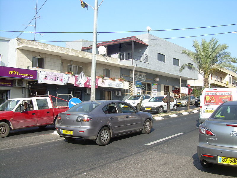 shops along the busy street