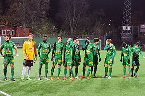 Dalkurd FF - The Dalkurd starting eleven lining up before a game wearing their green home kit.