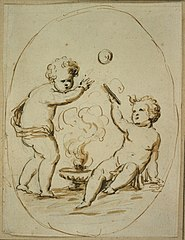 Two playing cherubs in a medallion