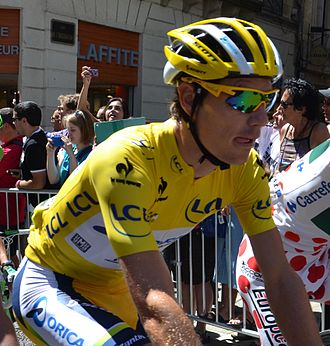 Daryl Impey - Impey wearing the yellow jersey at the 2013 Tour de France