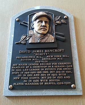Dave Bancroft - Bancroft's plaque at the Baseball Hall of Fame