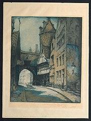 De oude Steenstraat, Antwerpen, met de oude Burchtpoort