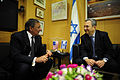 Defense.gov News Photo 111003-F-RG147-1262 - Secretary of Defense Leon Panetta left meets with Israeli Minister of Defense Ehud Barak in Tel Aviv Israel on Oct. 3 2011. Panetta is traveling.jpg