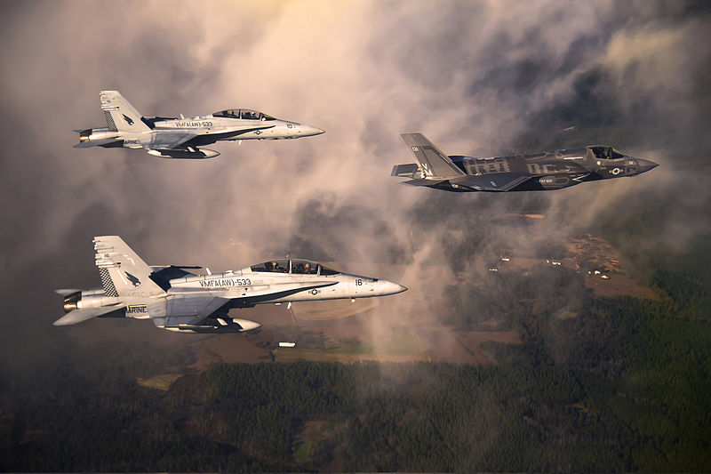 File:Defense.gov News Photo 120111-F-JZ907-002 - A U.S. Marine Corps F-35 Lightning II aircraft is escorted by two Marine F A-18 Hornets as it flies toward Eglin Air Force Base Fla. on Jan. 11.jpg