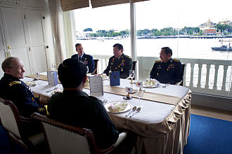 Thanasak Patimaprakorn - Thai Chief of Defense Forces Gen. Thanasak Patimaprakorn and the military chiefs host a lunch for U.S. Army Gen. Martin E. Dempsey, chairman of the Joint Chiefs of Staff, in Bangkok, June 5, 2012.