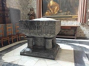 Tournai font - Onze Lieve Vrouwekerk, Dendermonde, Belgium