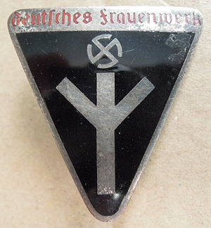 History of German women - Membership badge of the Deutsches Frauenwerk, a Nazi association for women founded in October 1933