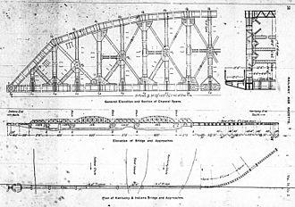 Kentucky & Indiana Terminal Bridge - Engineering drawing of the new bridge