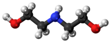 Ball-and-stick model of the diethanolamine molecule