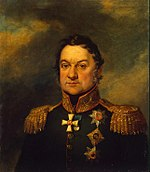 Portrait of Dokhturov in dark green Russian general's uniform