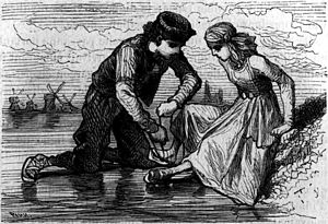 Hans Brinker, or The Silver Skates - Hans Brinker tying on his sister Gretel's ice skates, in an illustration by Théophile Schuler from the 1876 French translation of the novel