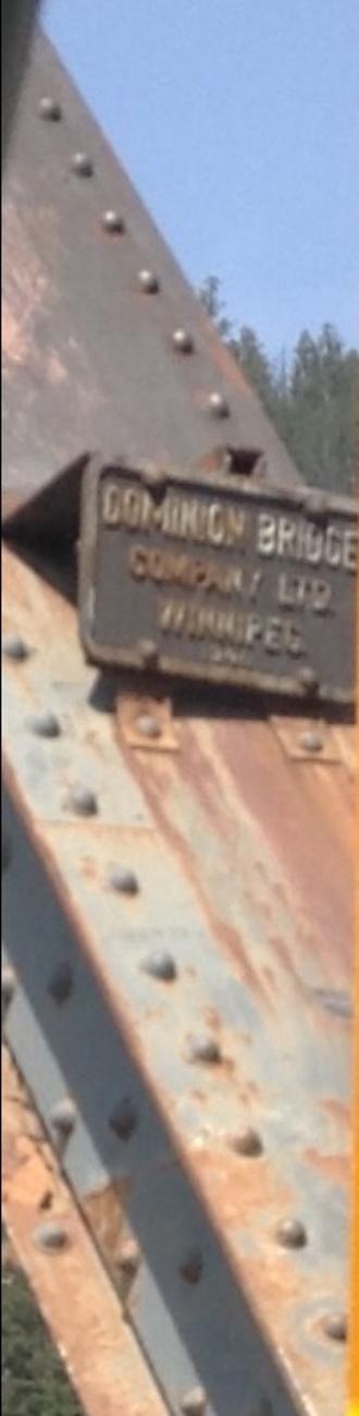 Dominion Bridge Company - A plaque on Moberly Bridge over the Athabasca River near Jasper, Alberta, which the Dominion Bridge Company constructed.