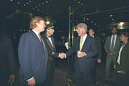 Donald Trump and Bill Clinton at Trump Tower in 2000