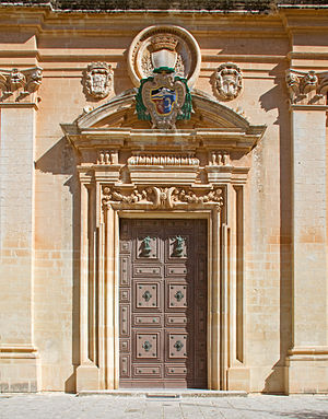 St. Paul's Cathedral, Mdina - The cathedral's doorway