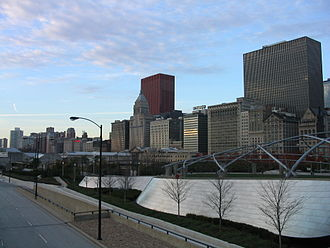 BP Pedestrian Bridge - The bridge is a noise barrier along the eastern edge of Millennium Park, with the Historic Michigan Boulevard District in the background.